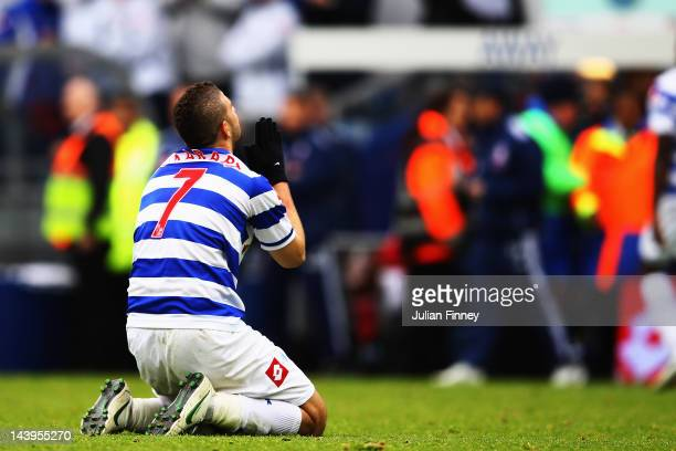 Adel Taarabt of Queens Park Rangers celebrates after team mate Djibril Cisse scores the only goal of the game during the Barclays Premier League...