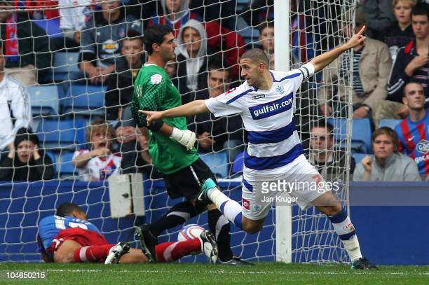 Adel Taarabt of Queens Park Rangers celebrates scoring the opening goal during the npower Championship match between Crystal Palace and Queens Park...