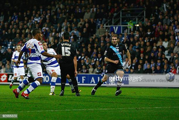 Adel Taarabt of Queens Park Rangers scores during the Coca Cola Championship match between Queens Park Rangers and Leicester City at Loftus Road on...