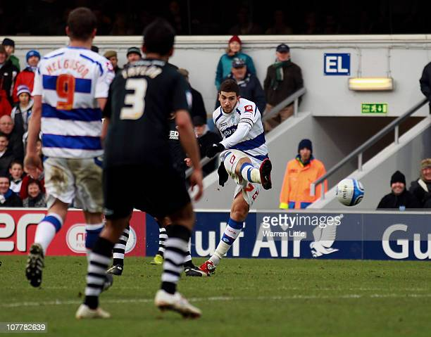 Adel Taarabt of Queens Park Rangers scores the fourth goal during the npower Championship match between Queens Park Rangers and Swansea City at...