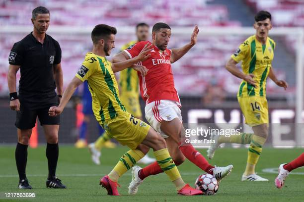 Adel Taarabt of SL Benfica competes for the ball with Ruben Fonseca of CD Tondela during the Liga NOS match between SL Benfica and CD Tondela at...