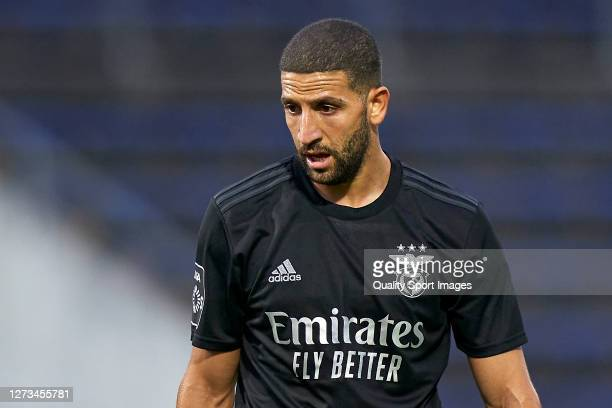 Adel Taarabt of SL Benfica looks on during the Liga NOS match between FC Famalicao and SL Benfica at Estadio Municipal 22 de Junho on September 18,...