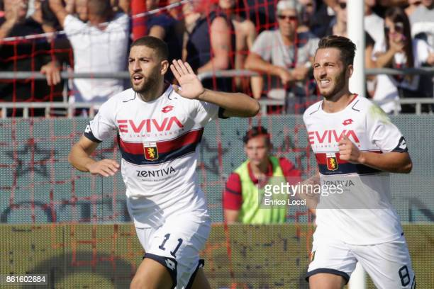 Adel Tarabt of Genoa celebrates after scoring his team's second goal during the Serie A match between Cagliari Calcio and Genoa CFC at Stadio...
