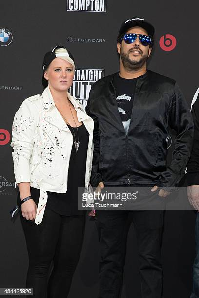 Adel Tawil and Lena attend the 'Straight Outta Compton' European premiere at CineStar on August 18 2015 in Berlin Germany
