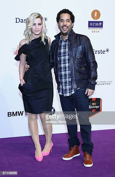 Adel Tawil and partner Jasmin Weber arrive at the Echo award 2010 at the Messe Berlin on March 4 2010 in Berlin Germany