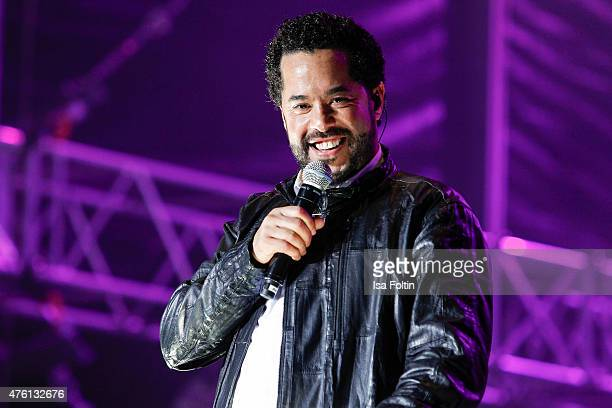 Adel Tawil performs during the naming ceremony of the cruise ship 'Mein Schiff 4' on June 5 2015 in Kiel Germany