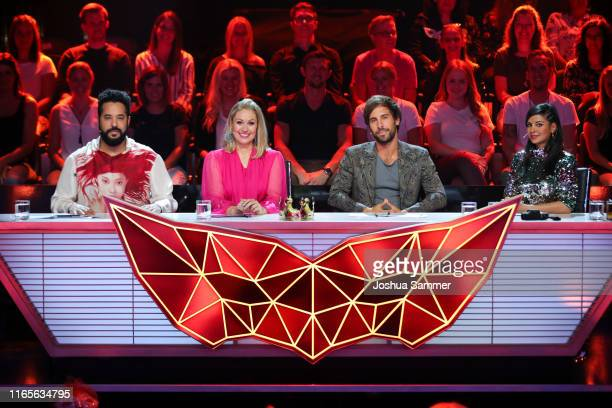 """Adel Tawil, Ruth Moschner, Max Giesinger and Collien Ulmen-Fernandes at the """"The Masked Singer"""" finals at Coloneum on August 01, 2019 in Cologne,..."""