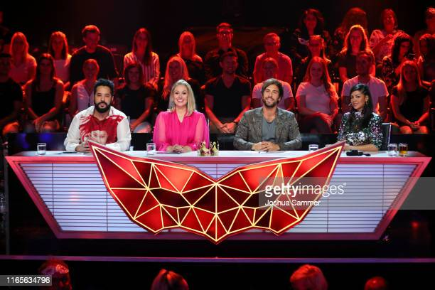 Adel Tawil Ruth Moschner Max Giesinger and Collien UlmenFernandes at the The Masked Singer finals at Coloneum on August 01 2019 in Cologne Germany