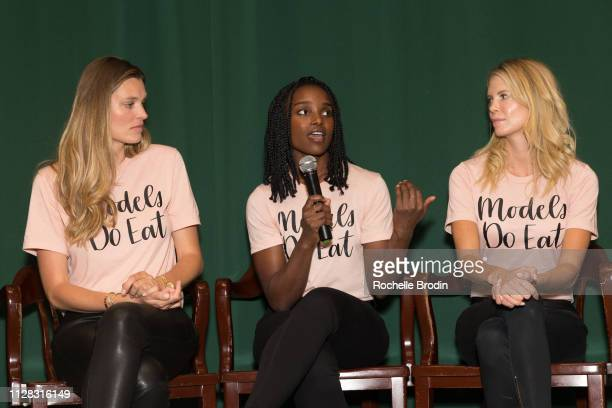 Adela Capova Lauren Williams and Nikki Sharp attend the Models Do Eat book signing at Barnes and Noble Tribeca on February 07 2019 in New York City