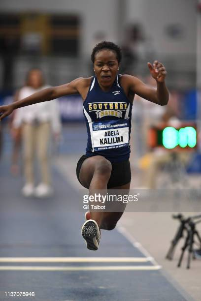 Adela Kalilwa of the Southern Maine Huskies competes in the triple jump during the Division III Men's and Women's Indoor Track Field Championships...