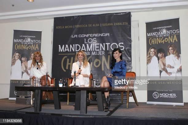 Adela Micha Rebeca de Alba and Susana Zabaleta speak during a press conference to present 'Los mandamientos de una mujer chingona' at Four Seasons...