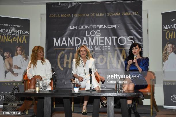 Adela Micha Rebecca de Alba Susana Zavaleta during a press conference to present 'Los mandamientos de una mujer Chingona' at Four Seasons Hotel...