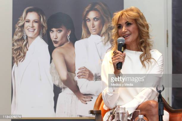 Adela Micha speaks during a press conference to present 'Los mandamientos de una mujer chingona' at Four Seasons Hotel Mexico City on March 7 2019 in...