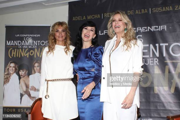 Adela Micha Susana Zabaleta and Rebeca de Alba pose for the media during a press conference to present 'Los mandamientos de una mujer chingona' at...