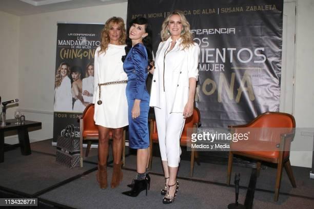 Adela Micha Susana Zabaleta and Rebeca de Alba pose for the media the media during a press conference to present 'Los mandamientos de una mujer...