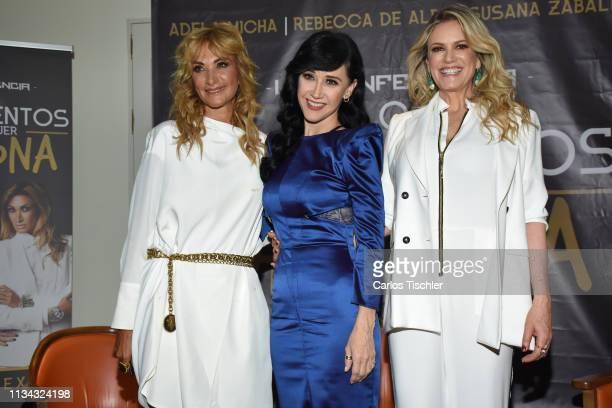 Adela Micha Susana Zavaleta Rebecca de Alba poses for photos during a press conference to present 'Los mandamientos de una mujer Chingona' at Four...