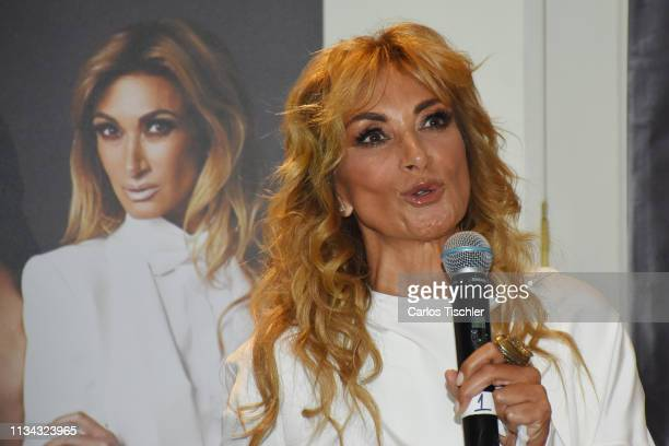 Adela Micha talks during a press conference to present 'Los mandamientos de una mujer Chingona' at Four Seasons Hotel Mexico City on March 7 2019 in...