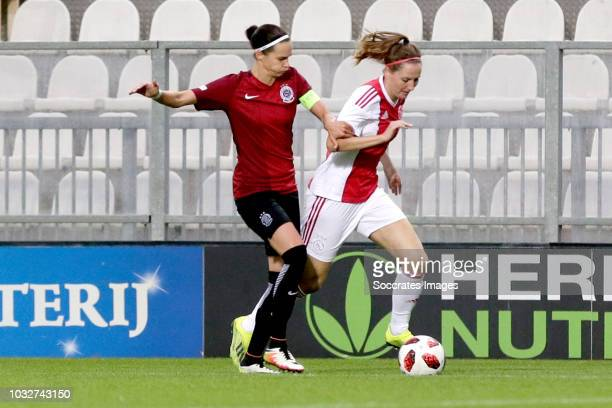 Adela Odehnalova of Sparta Praha Women Ellen Jansen of Ajax Women during the UEFA Champions League Women match between Ajax v Sparta Prague at the De...