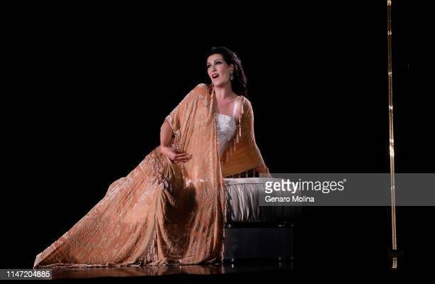 """Adela Zaharia performs as Violetta in Los Angeles Opera's production of Verdi's """"La Traviata,"""" at the Dorothy Chandler Pavilion in Los Angeles on May..."""