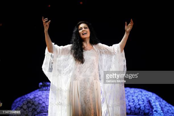 Adela Zaharia performs as Violetta in Los Angeles Opera's production of Verdi's La Traviata at the Dorothy Chandler Pavilion in Los Angeles on May 30...