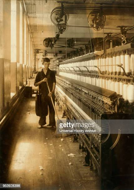 Adelaid Levesque 14 years old FullLength Portrait Sweeper and Cleaner in Spinning Room King Philip Mills Fall River Massachusetts USA Lewis Hine for...