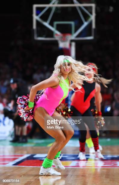 Adelaide 36ers cheer leaders at quarter time during the round 15 NBL match between the Adelaide 36ers and the Illawarra Hawks at Titanium Security...