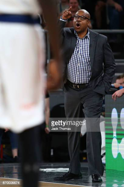 Adelaide 36ers Coach Joey Wright gets ejected after receiving two consecutive tech fouls during the round five NBL match between Melbourne United and...