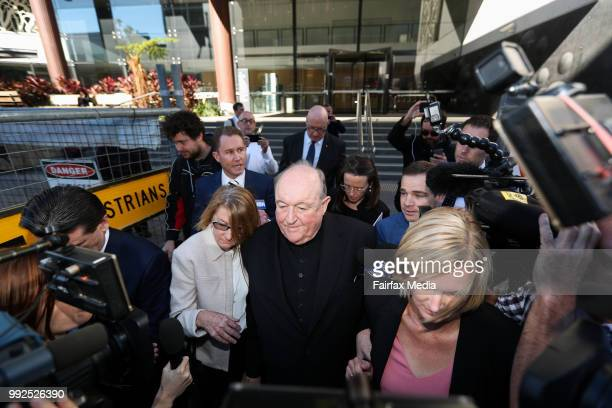 Adelaide Archbishop Philip Wilson leaves Newcastle courthouse after being found guilty of concealing historical child sexual abuse on May 22 2018 in...