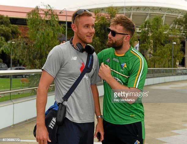 Adelaide Australia 11 November 2017 The Eirgrid Ireland team captain Aidan O'Shea with Stuart Broad MBE Stuart Broad the Nottinghamshire and England...