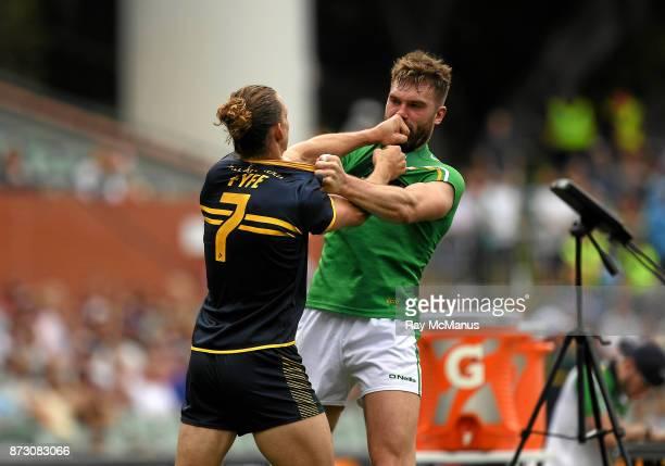 Adelaide Australia 12 November 2017 Aidan O Shea of Ireland is tackled by Nat Fyfe of Australia during the Virgin Australia International Rules...