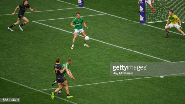 Adelaide Australia 12 November 2017 Australia's Nat Fyfe fires in a shot which beat Ireland goalkeeper Niall Morgan and ultimately hit a post and...