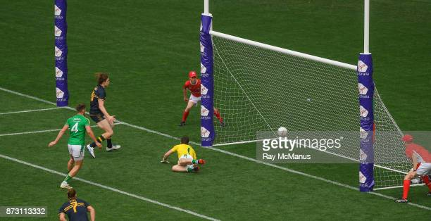 Adelaide Australia 12 November 2017 Ireland goalkeeper Niall Morgan is beaten with a shot from Australia's Nat Fyfe which saw the ball hit the post...