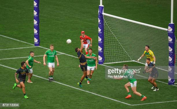 Adelaide Australia 12 November 2017 Paddy Ryder of Australia fails to win possession under pressuer from Eoin Cadogan of Ireland during the third...