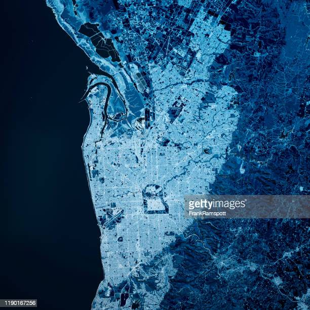 adelaide australia 3d render map blue top view aug 2019 - adelaide stock pictures, royalty-free photos & images
