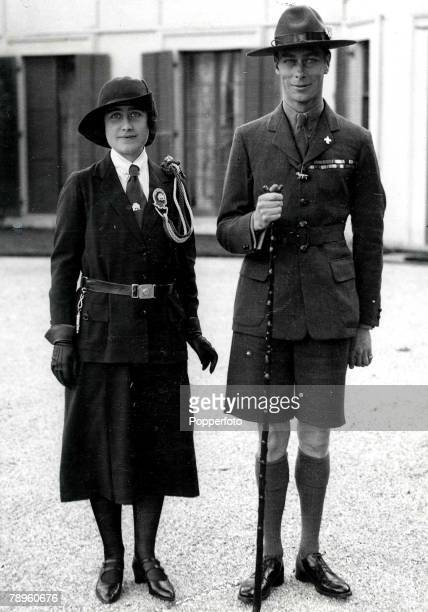 Adelaide Australia King George VI and Queen Elizabeth at the time when they were Duke and Duchess of York wearing the uniform of the Boy Scouts and...