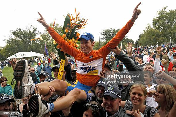 Martin Elmiger from Switzerland representing the French Ag2R team celebrates winning the Tour Down Under cycling race in Adelaide, 21 January 2007....