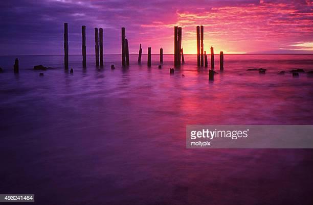 アデレイドオーストラリア南オーストラリア willunga 夕暮れの桟橋 - ウィランガ ストックフォトと画像