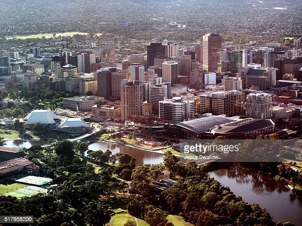adelaide city aerial - adelaide stock pictures, royalty-free photos & images