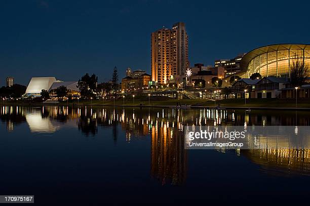 Adelaide city at night and Torrens River, Adelaide, South Australia, SA, Australia.