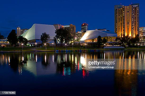 Adelaide city at night, Torrens River, Adelaide, South Australia, SA, Australia.