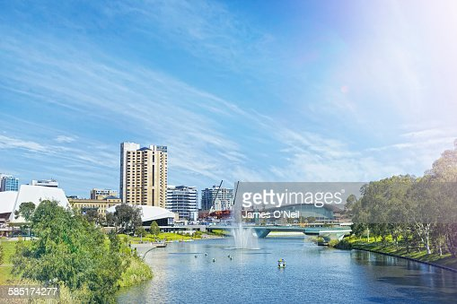 adelaide city centre and river torrens stock photo getty. Black Bedroom Furniture Sets. Home Design Ideas