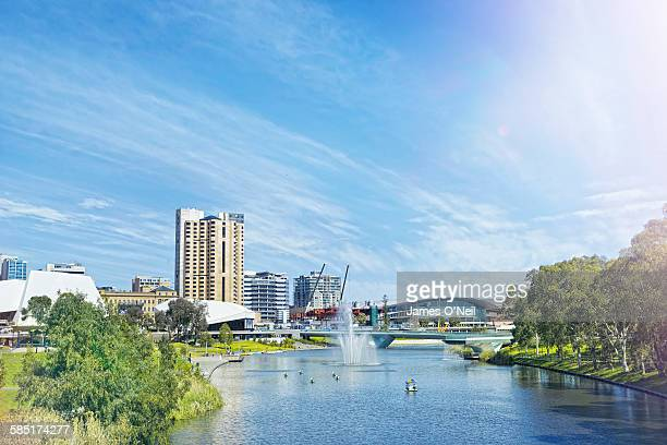 adelaide city centre and river torrens - adelaide stock pictures, royalty-free photos & images