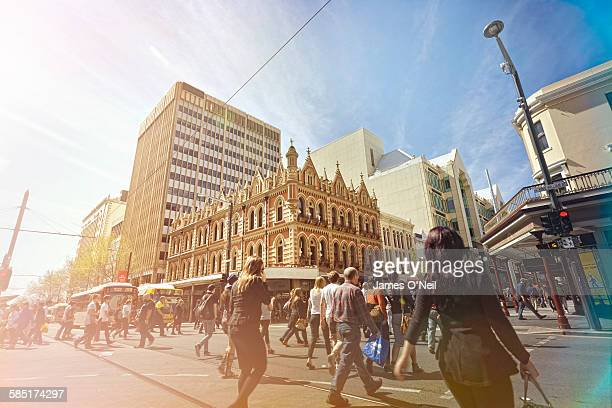 adelaide city centre bustling with people - adelaide stock pictures, royalty-free photos & images