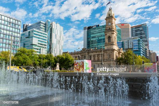 Adelaide city skyline seen from Victoria square South Australia