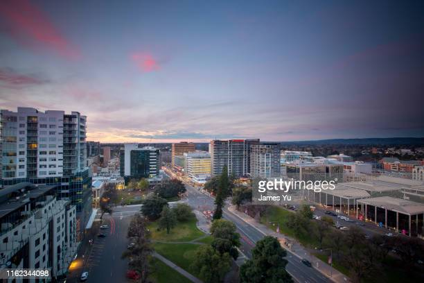 adelaide city sunset - adelaide city stockfoto's en -beelden
