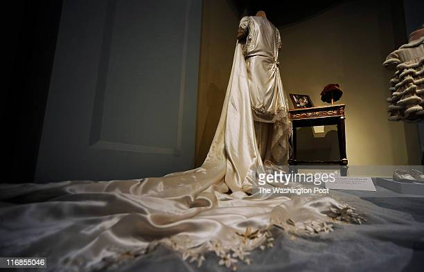 Adelaide Close's court train flows from the 1920's silk satin dress she wore during her marriage to Thomas Durant The dress in on display as part of...