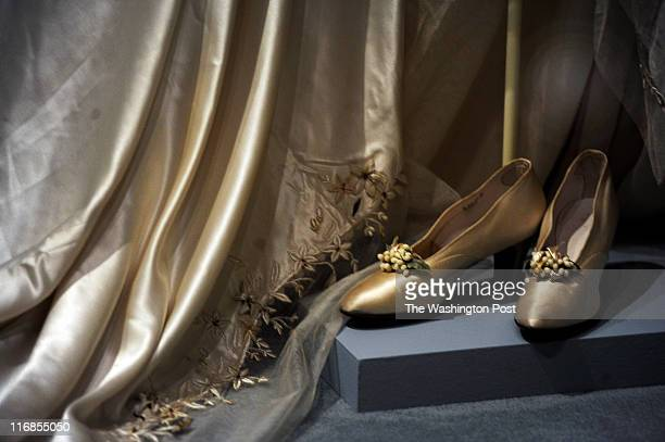 Adelaide Close's satin shoes she wore during her marriage to Thomas Durant The shoes are part of the new exhibit 'Wedding Belles' at the Hillwood...