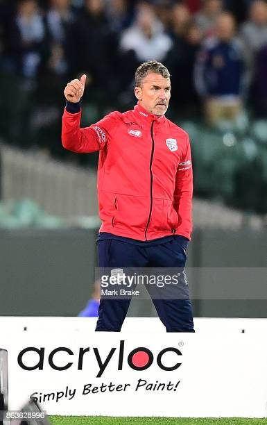 Adelaide coach Marco Kurz during the round three ALeague match between Adelaide United and Melbourne Victory at Adelaide Oval on October 20 2017 in...