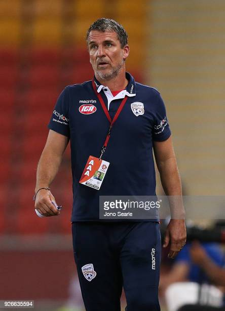 Adelaide coach Marco Kurz looks on during the round 22 ALeague match between the Brisbane Roar and Adelaide United at Suncorp Stadium on March 3 2018...