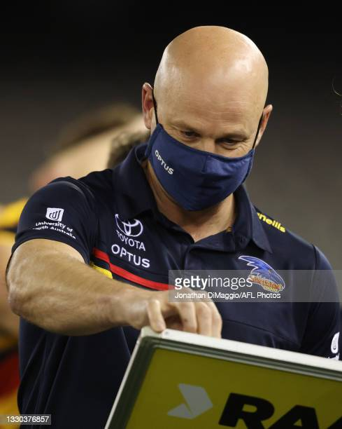 Adelaide Coach Matthew Nicks at the three quarter time break during the round 20 AFL match between Adelaide Crows and Hawthorn Hawks at Marvel...